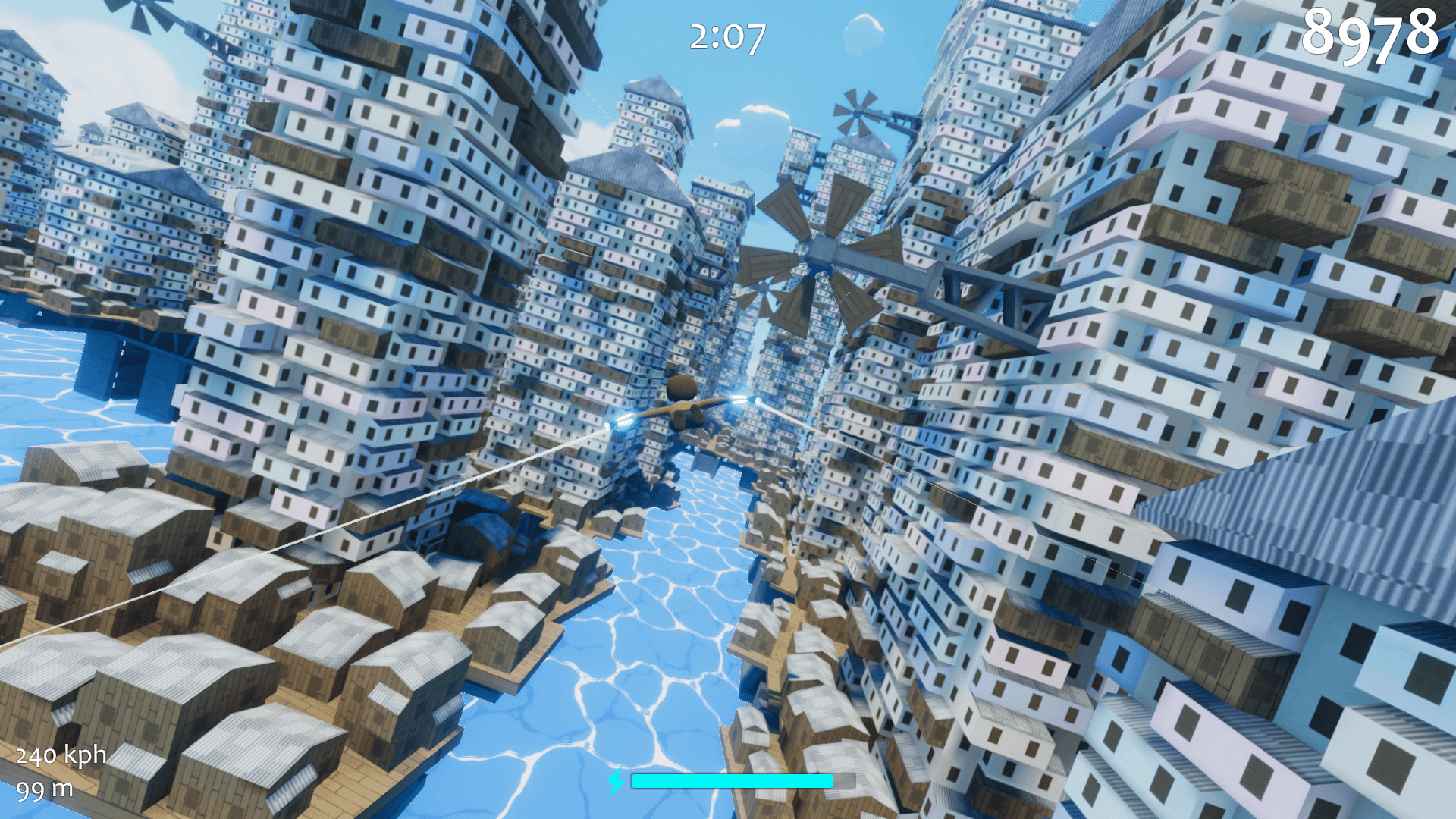 Flying through a city of jumbled towers