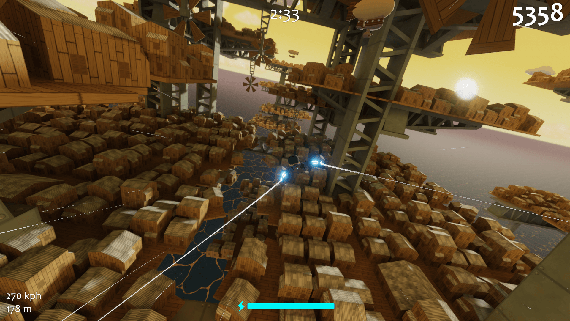 Flying near a windmill among metal girders, wooden platforms, and haphazardly constructed shacks