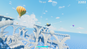 Soaring over ancient stone ruins through a sky filled with hot air balloons